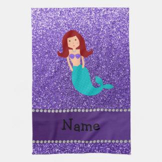 Personalized name mermaid purple glitter tea towel