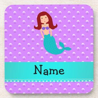 Personalized name mermaid purple pearls coasters
