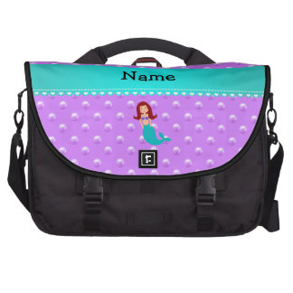 Personalized name mermaid purple pearls bags for laptop