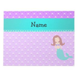 Personalized name mermaid purple pearls notepad