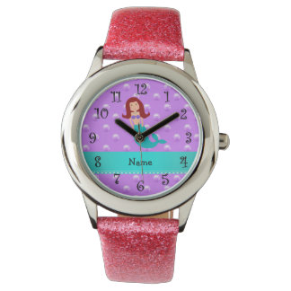 Personalized name mermaid purple pearls watch