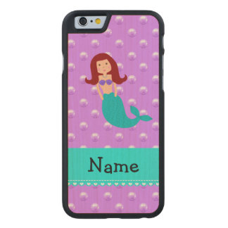 Personalized name mermaid purple pearls carved® maple iPhone 6 case
