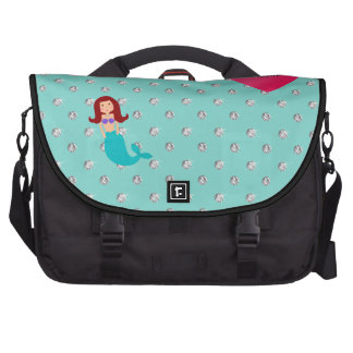 Personalized name mermaid seafoam green diamonds laptop commuter bag