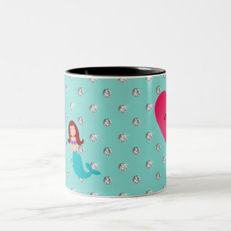 Personalized name mermaid seafoam green diamonds coffee mugs