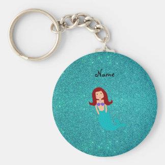 Personalized name mermaid turquoise glitter key ring