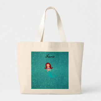 Personalized name mermaid turquoise glitter large tote bag