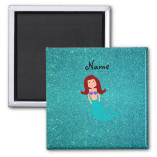 Personalized name mermaid turquoise glitter square magnet