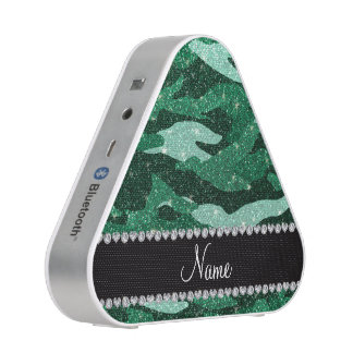 Personalized name mint green glitter camouflage