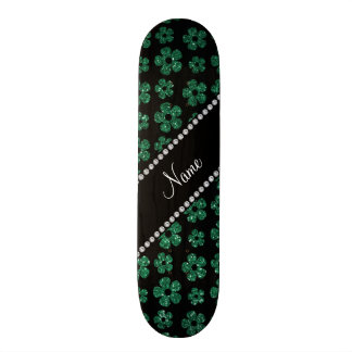 Personalized name mint green glitter flowers 19.7 cm skateboard deck
