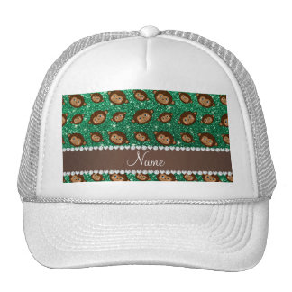 Personalized name mint green glitter monkeys cap