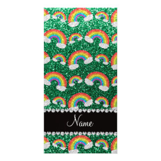 Personalized name mint green glitter rainbows photo card