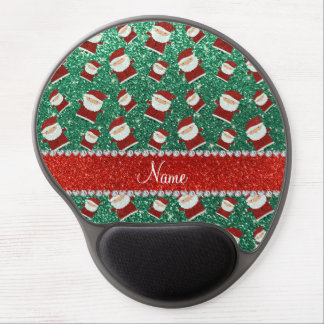 Personalized name mint green glitter santas gel mouse mat