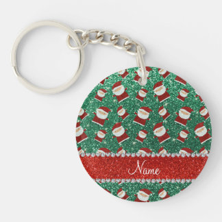 Personalized name mint green glitter santas keychains