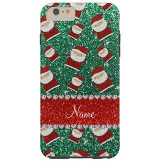 Personalized name mint green glitter santas tough iPhone 6 plus case