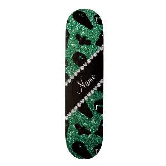 Personalized name mint green glitter vampire skate deck
