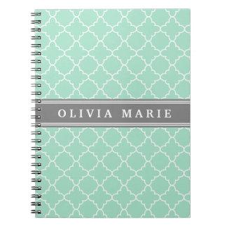 Personalized Name Mint Lattice Pattern Notebooks