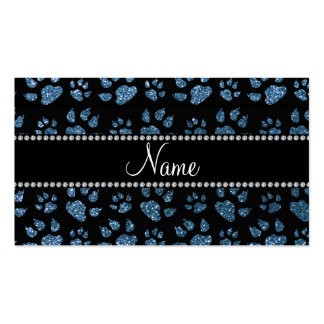 Personalized name misty blue glitter cat paws business card templates