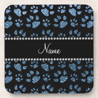Personalized name misty blue glitter cat paws beverage coasters