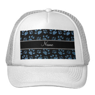 Personalized name misty blue glitter cat paws mesh hat
