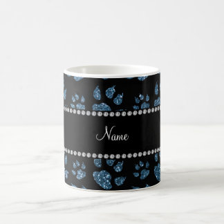 Personalized name misty blue glitter cat paws mug