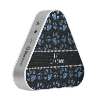 Personalized name misty blue glitter cat paws speaker