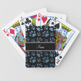 Personalized name misty blue glitter cat paws poker deck