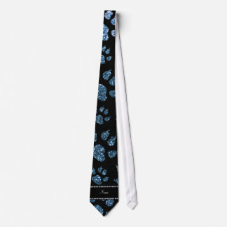 Personalized name misty blue glitter cat paws custom tie