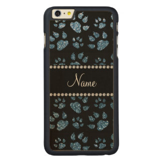 Personalized name misty blue glitter cat paws carved® maple iPhone 6 plus case