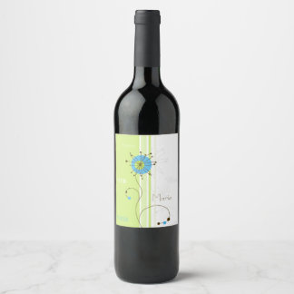 Personalized Name Modern Flower Design Wine Label