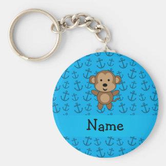 Personalized name monkey blue anchors pattern key ring