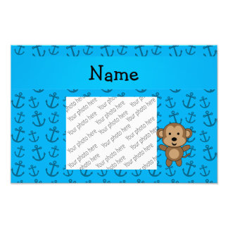Personalized name monkey blue anchors pattern photo