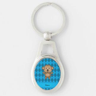 Personalized name monkey blue argyle key ring