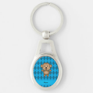 Personalized name monkey blue argyle Silver-Colored oval key ring