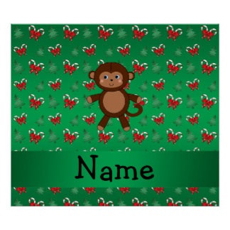 Personalized name monkey green candy canes bows poster