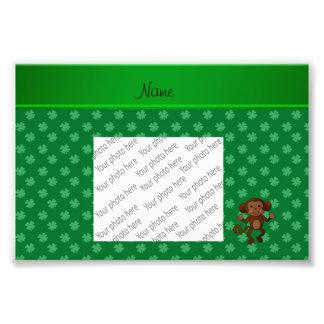 Personalized name monkey green shamrocks photograph