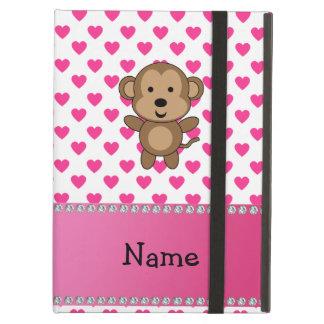 Personalized name monkey pink hearts polka dots iPad air cover