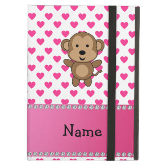 Personalized name monkey pink hearts polka dots iPad air cover
