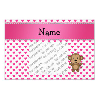 Personalized name monkey pink hearts polka dots photo