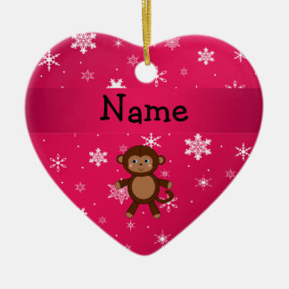 Personalized name monkey pink snowflakes christmas ornament