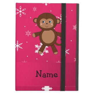 Personalized name monkey pink snowflakes iPad cover