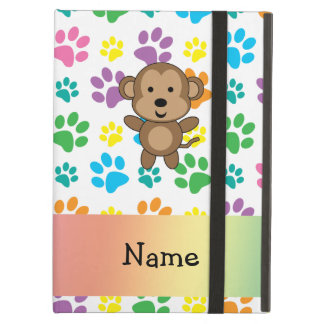 Personalized name monkey rainbow paws iPad case