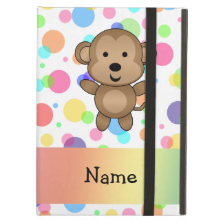 Personalized name monkey rainbow polka dots cover for iPad air