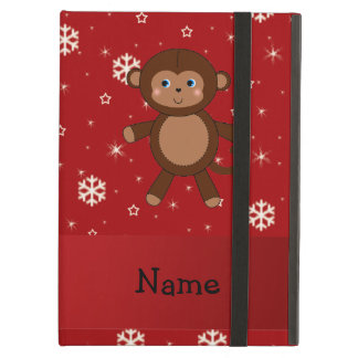 Personalized name monkey red snowflakes iPad cases