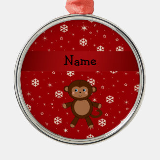 Personalized name monkey red snowflakes Silver-Colored round decoration