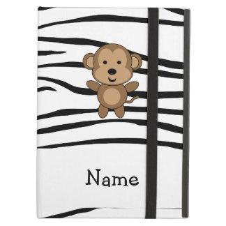 Personalized name monkey zebra stripes iPad cover