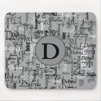 personalized name monogram black and white mouse pad