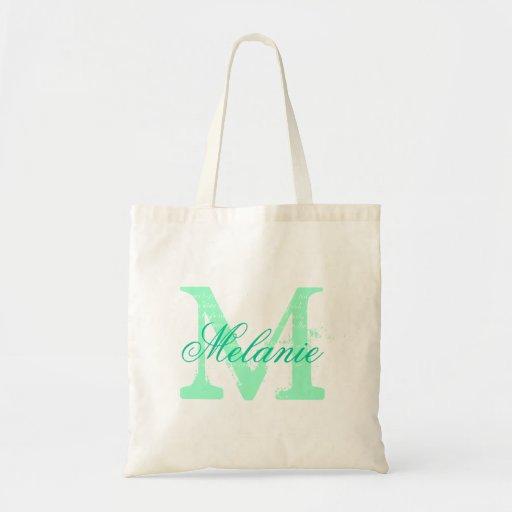 Personalized name monogram tote bag | Mint green Bag