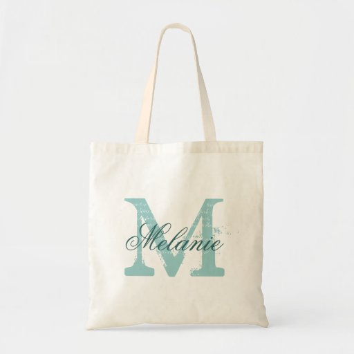 Personalized name monogram tote bag | Turquoise