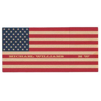 Personalized Name Monogram USA American Flag USB Wood USB Flash Drive