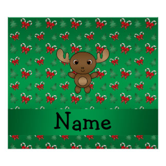 Personalized name moose green candy canes bows print